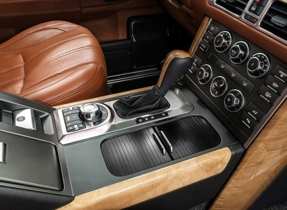 Business car interior. Automatic transmission gear shift.